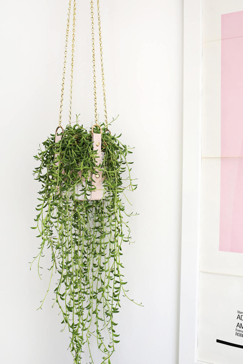 pink faux leather planter - Diy Hanging Planter