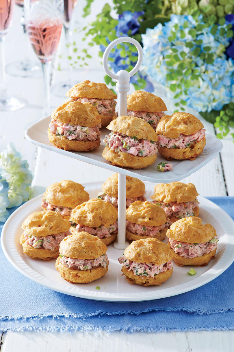 Cheese Puffs with Ham Salad