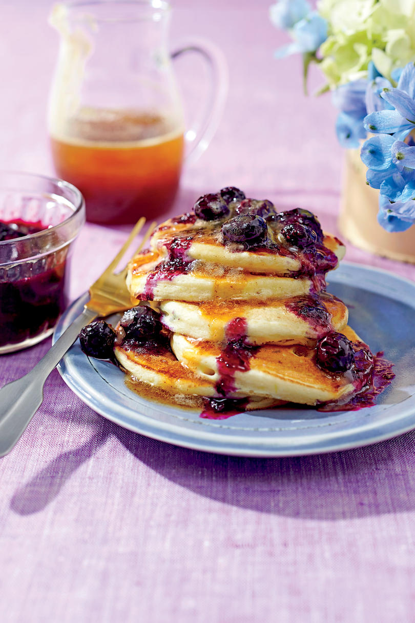 Ricotta Pancakes with Brown Butter-Maple Syrup and Blueberry Compote