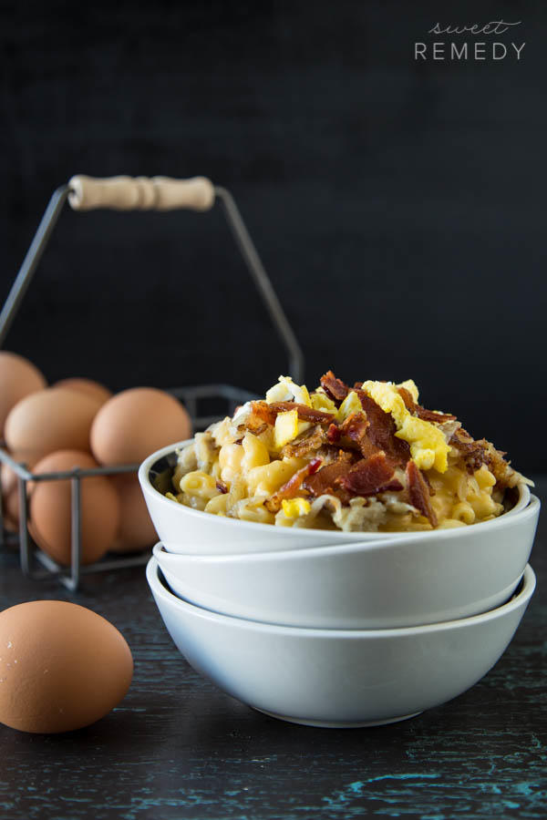 Breakfast Mac and Cheese with Bacon, Eggs, and Hash Browns