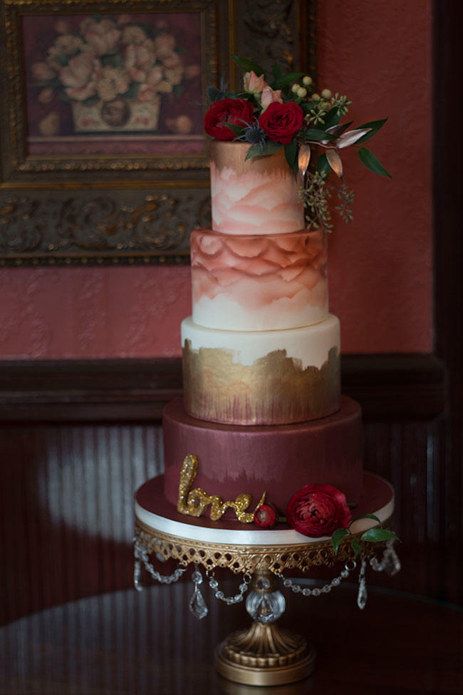 Watercolor Fall Wedding Cake