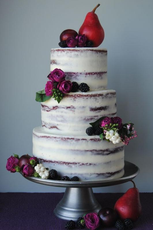 Wedding Cake Flowers And Berries
