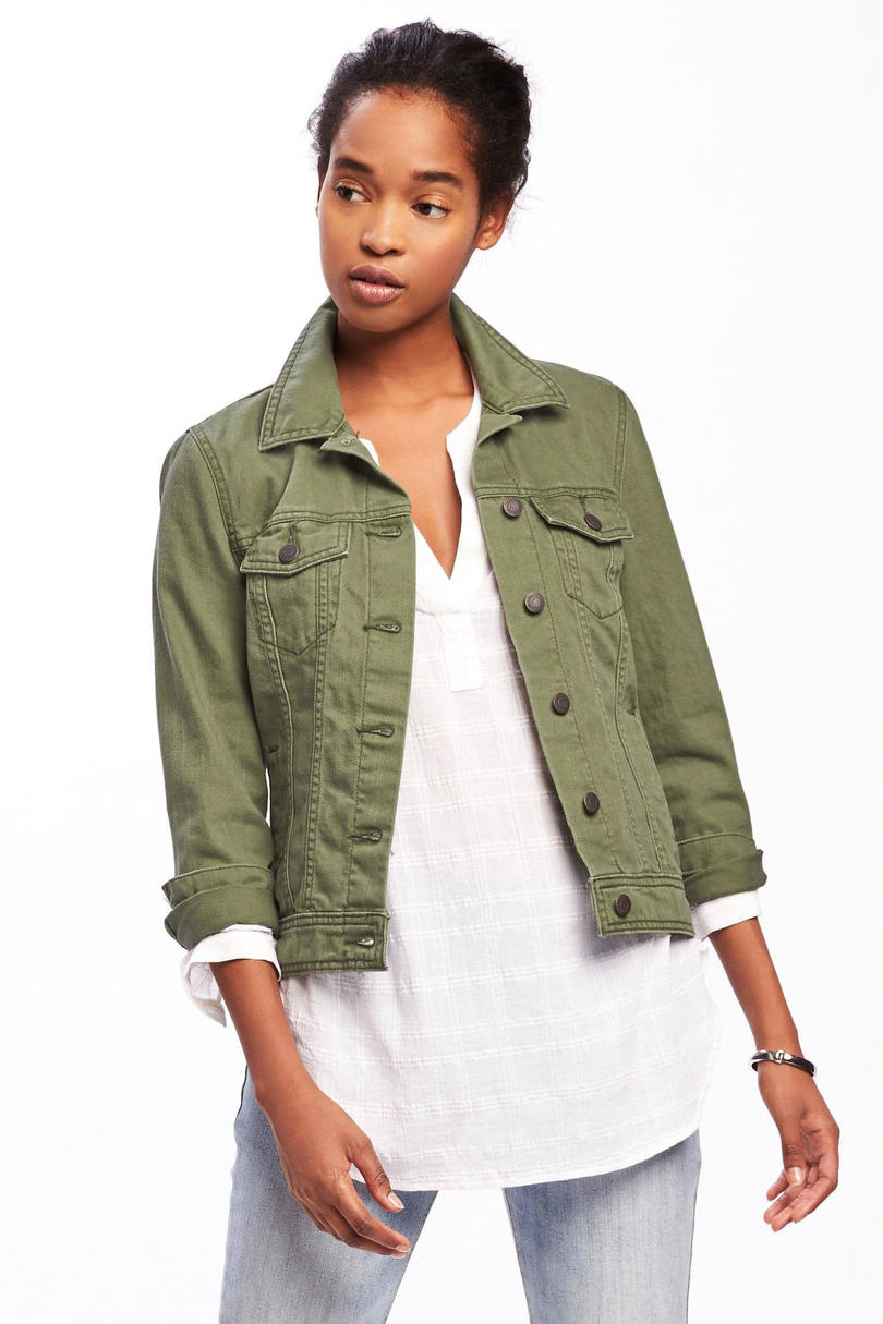 Olive-Green Denim Jacket