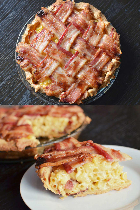 Macaroni and Cheese Pie with Bacon Lattice