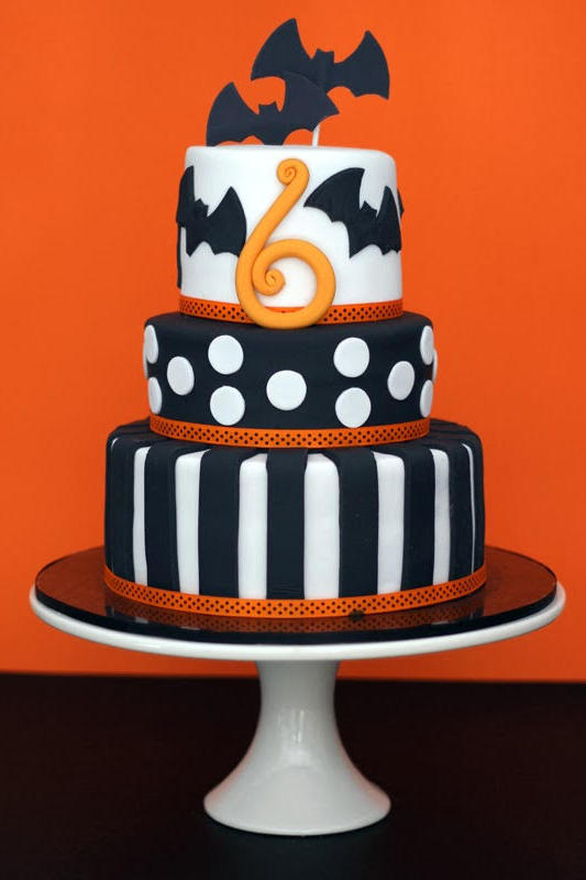 orange and black halloween cake