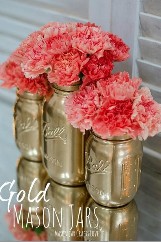 Mason Jar Decor Part - 31: Metallic Jars Turned Vases