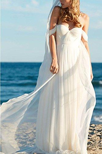 Empire Long Chiffon Bridal Beach Wedding Dress