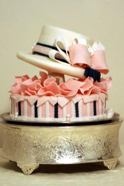 Striped Pink Derby Hat Cake