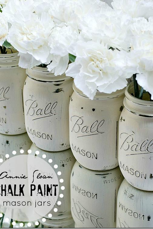 Simple Chalk Paint Mason Jars