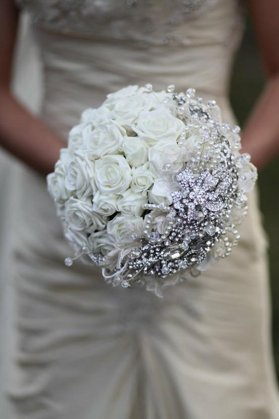White Rose Crystal Bouquet