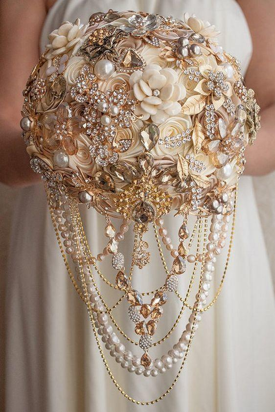Draped Crystal and Pearl Bouquet