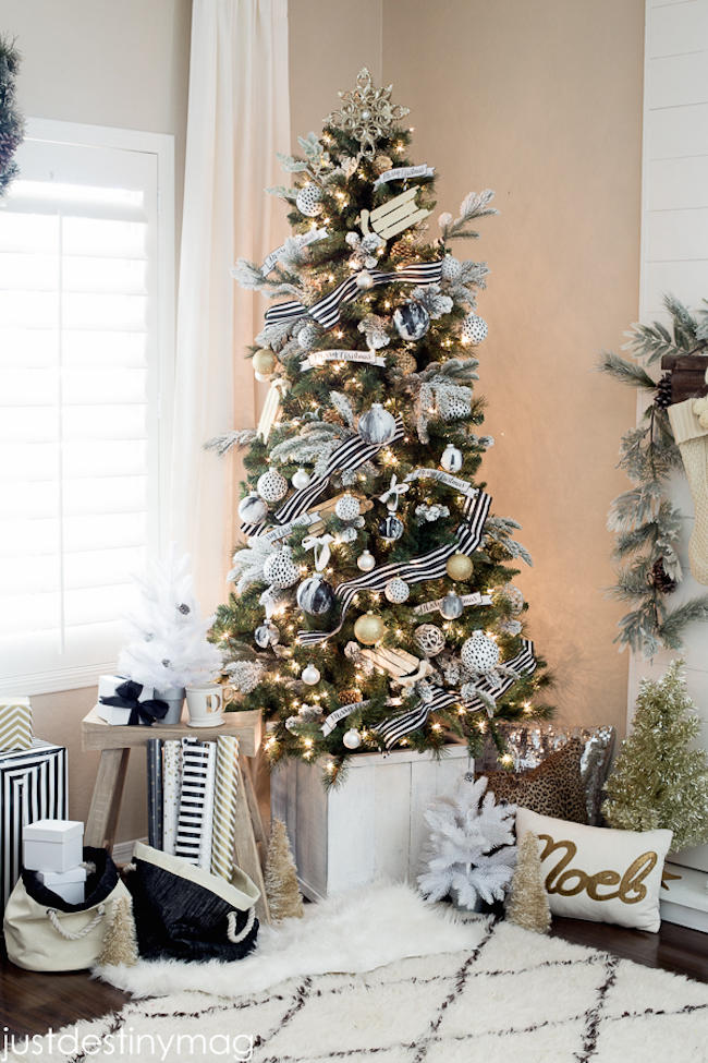 black and white and striped all over christmas tree ideas