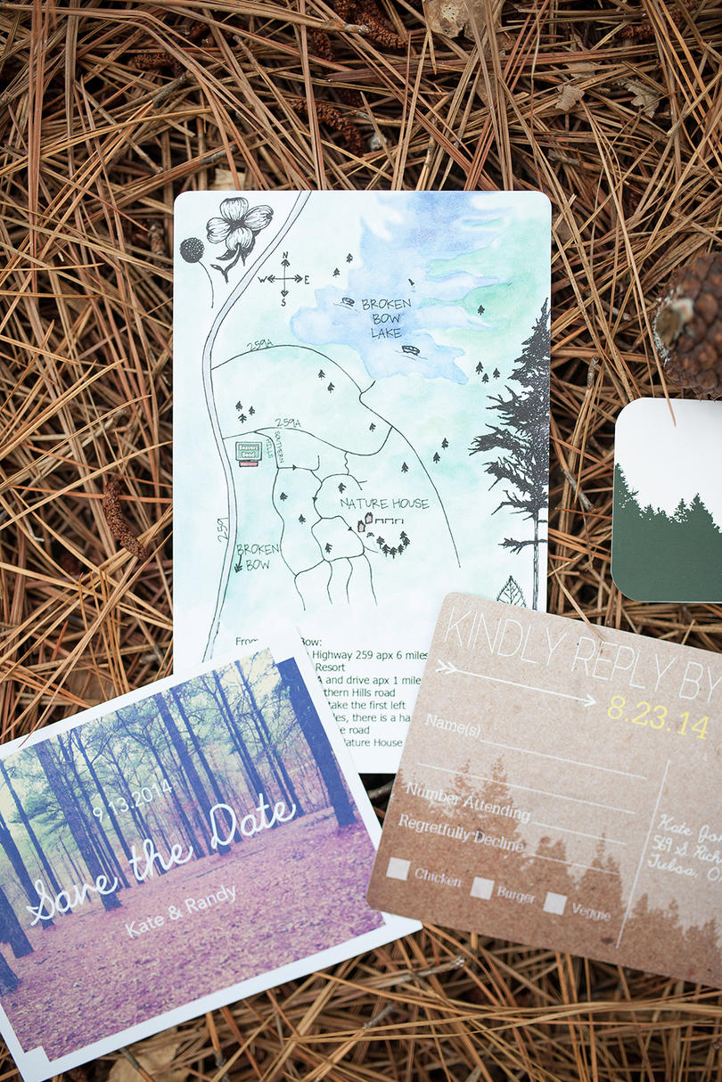 Natural Woods-Inspired Invitation Suite