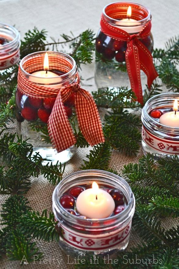 cranberry candle centerpieces
