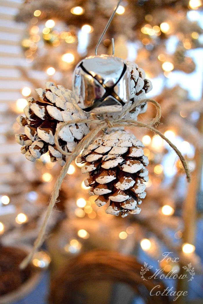 Rustic Jingle Bell Pinecone Ornament