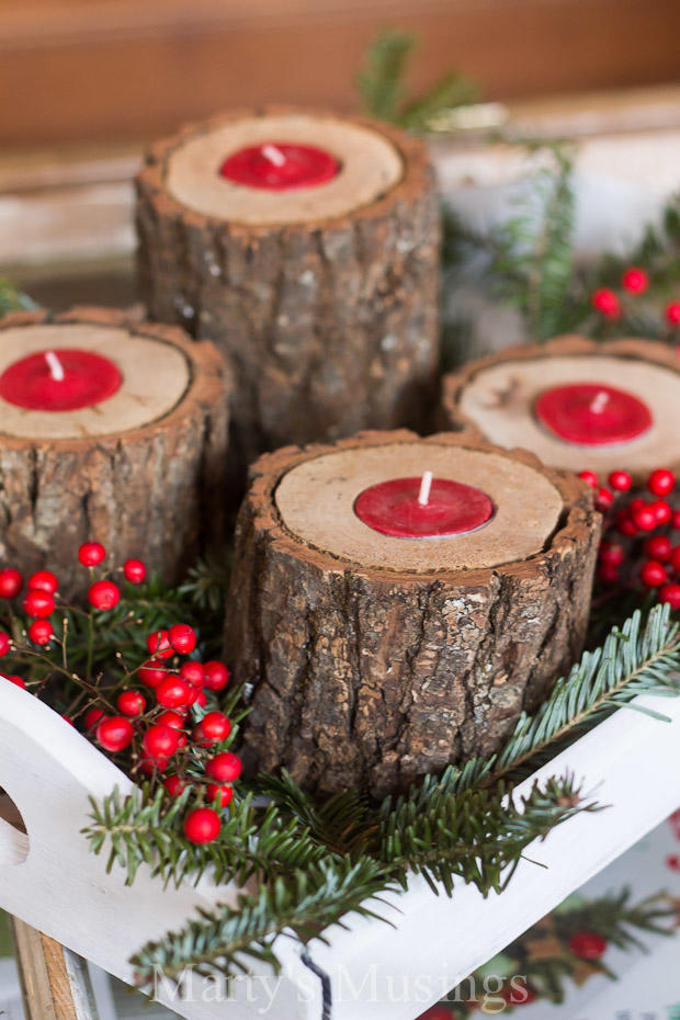Food Christmas Decorations Part - 21: Rustic Wood Candle Holders