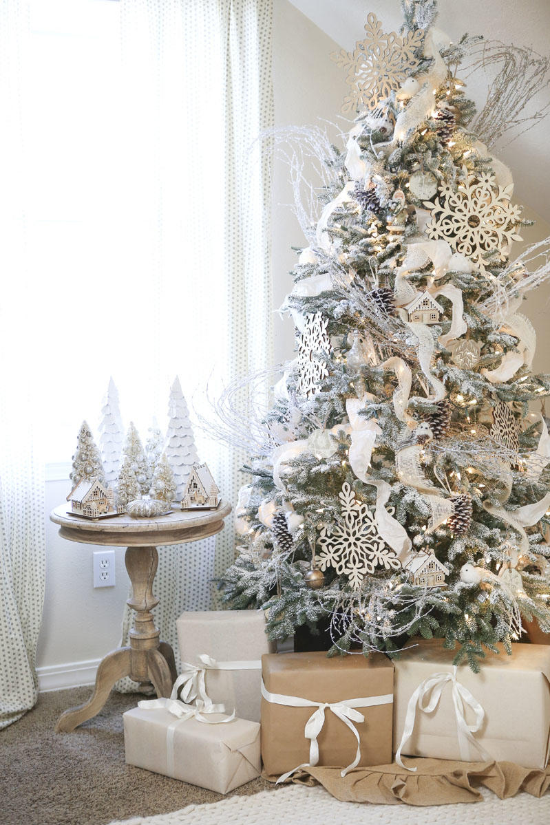 wintery white black and white and striped all over christmas tree ideas