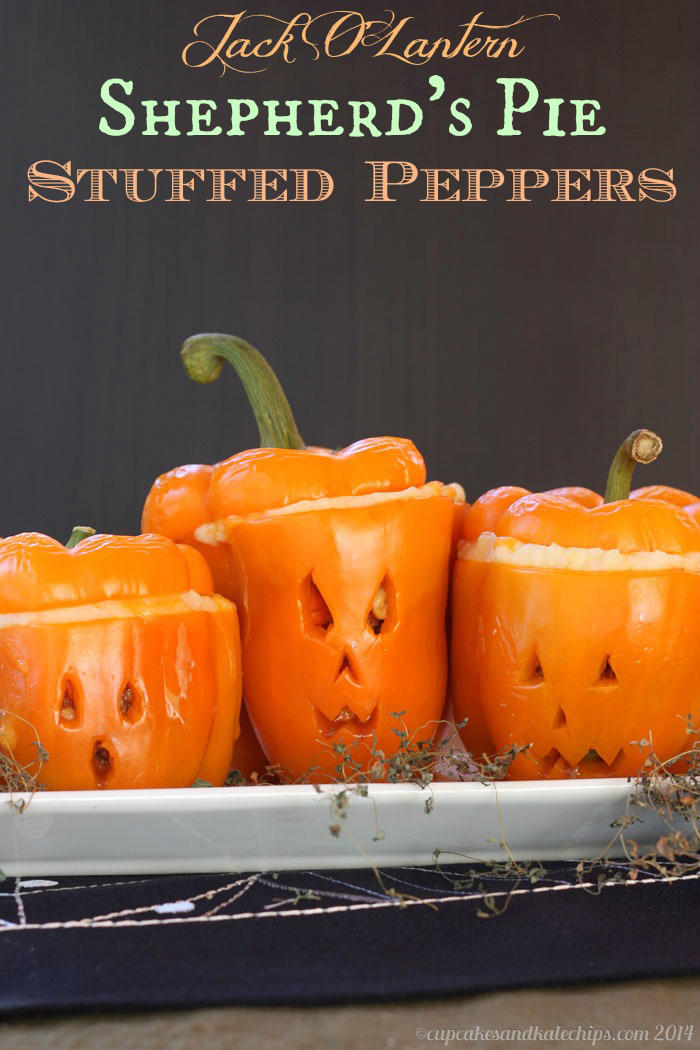 Jack O'Lantern Shepherd's Pie Stuffed Peppers