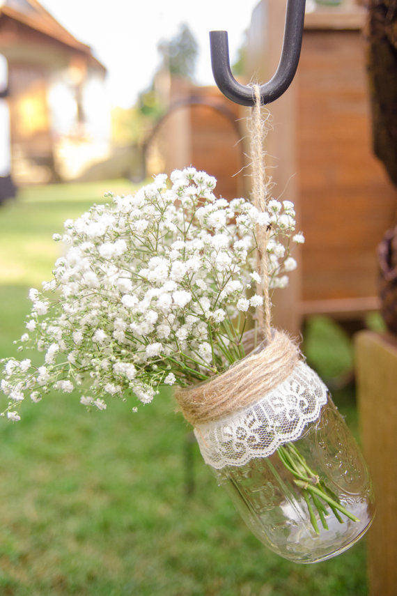 Twine and Lace Mason Jars