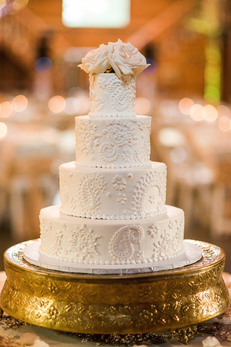 Mixed Flavor White with Details Wedding Cake