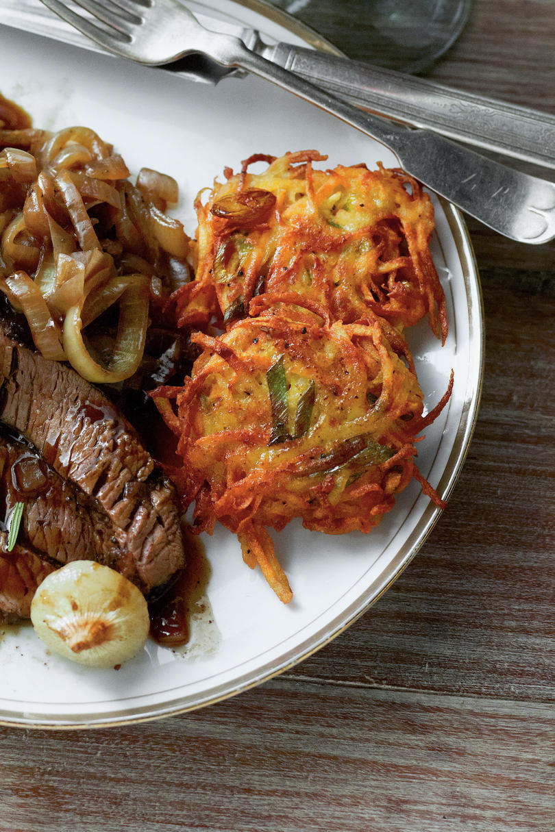Russet and Sweet Potato Latkes
