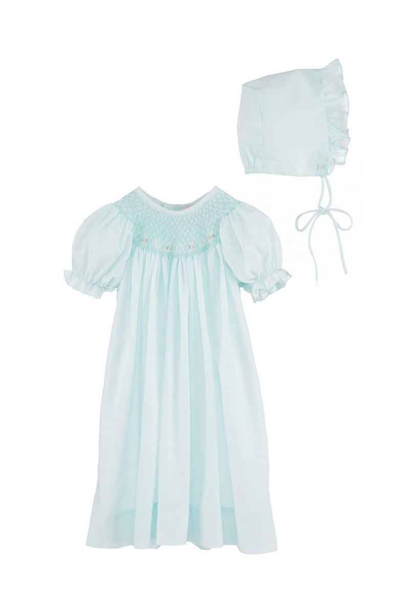 Petit Ami Baby Girls Smocked Gown & Bonnet Set