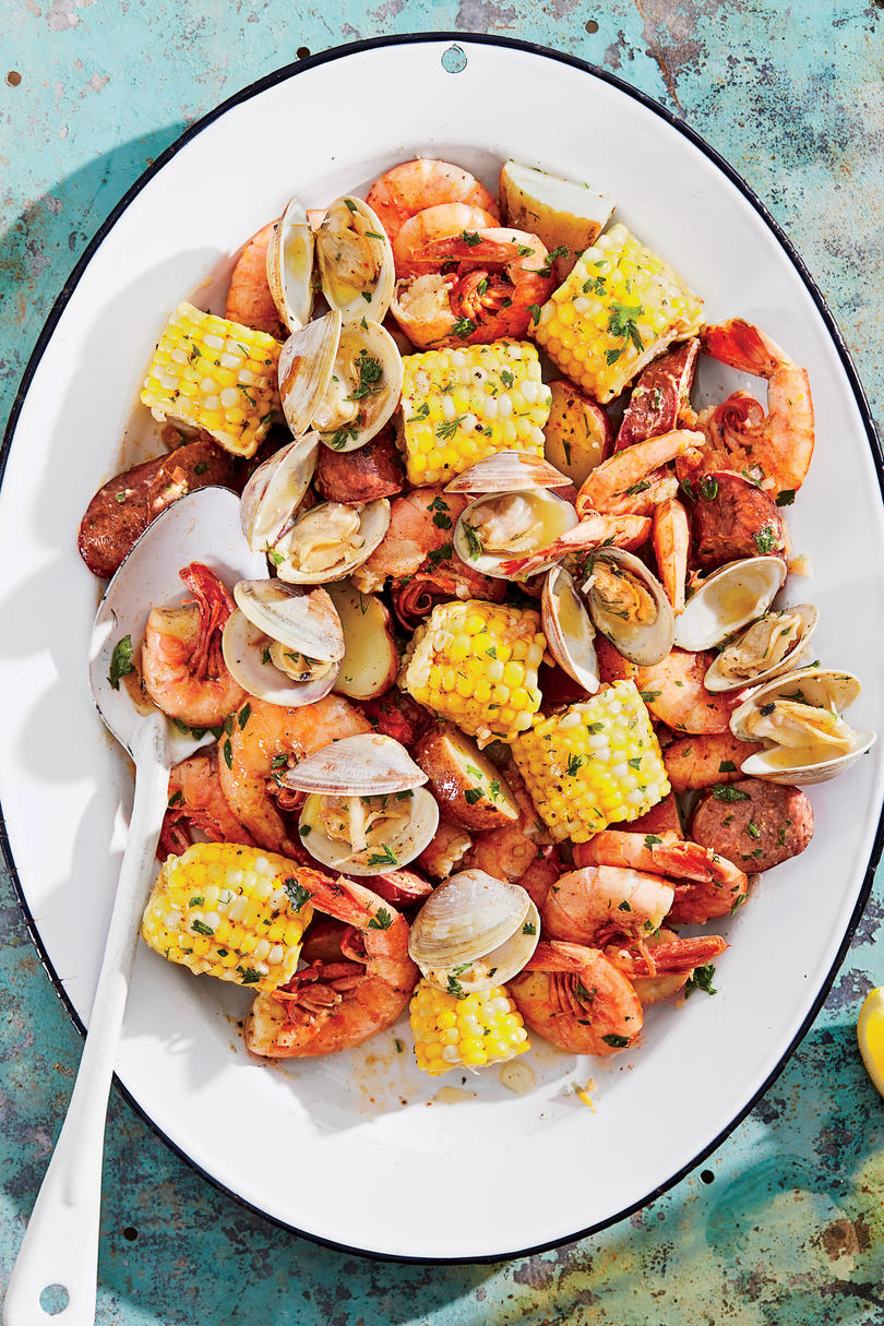 Grilled Clambake Foil Packets with Herb Butter