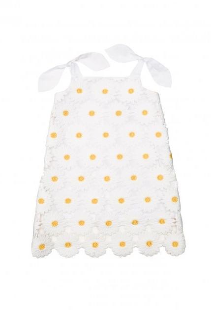 Most Adorable Flower Girl Dresses MILLY Minis White and Yellow Daisy Embroidered Dress