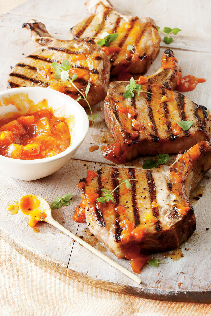 Brown Sugar Pork Chops with Peach Barbecue Sauce