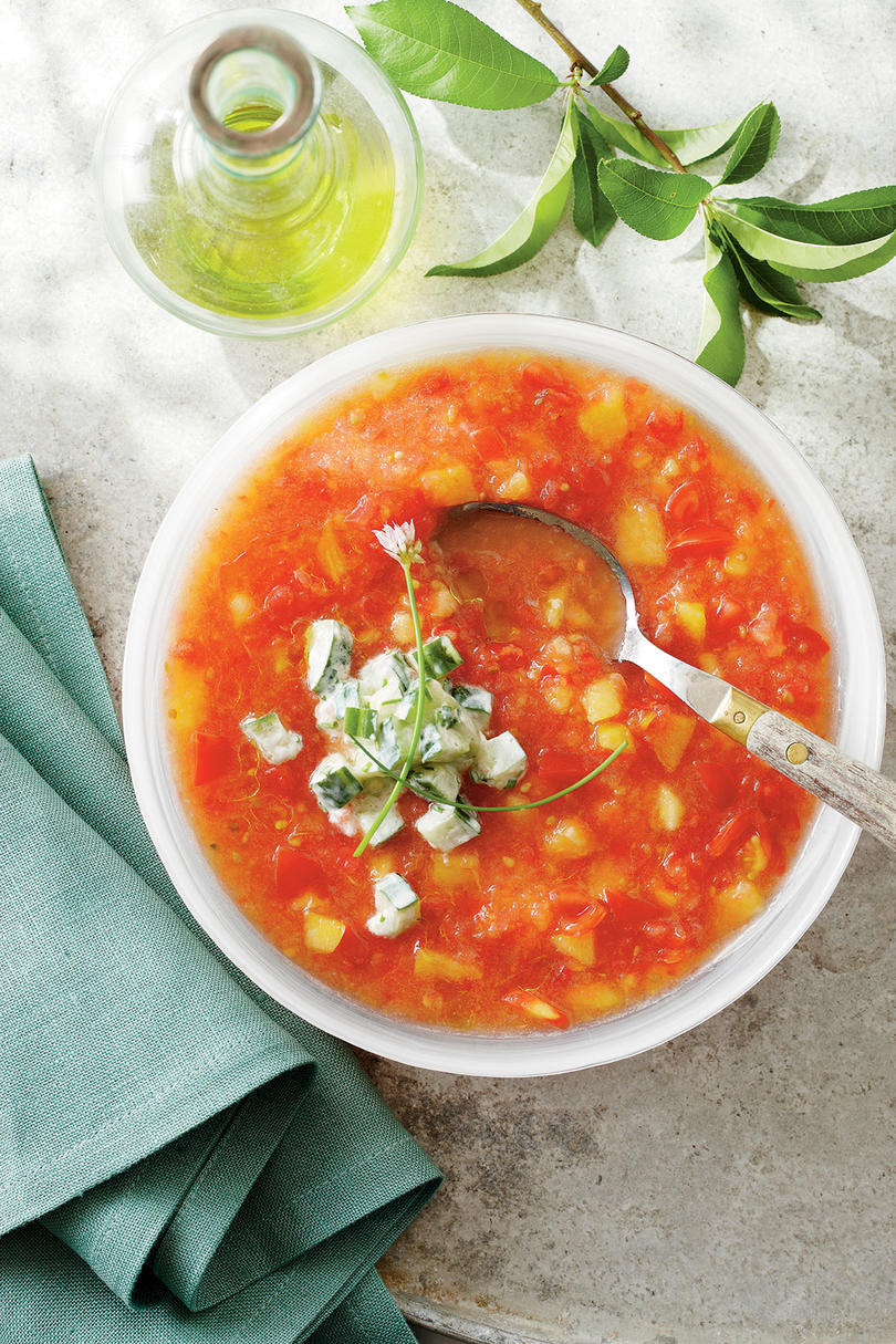 Peach and Tomato Gazpacho with Cucumber Yogurt
