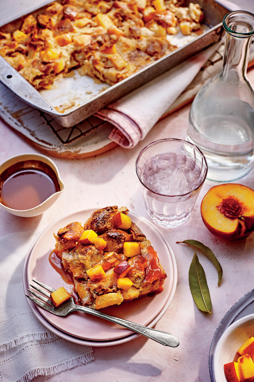 July- Peach Bread Pudding with Bourbon Caramel
