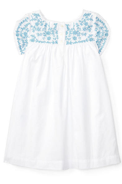 Most Adorable Flower Girl Dresses Ralph Lauren Cotton Embroidered Blue and White Dress