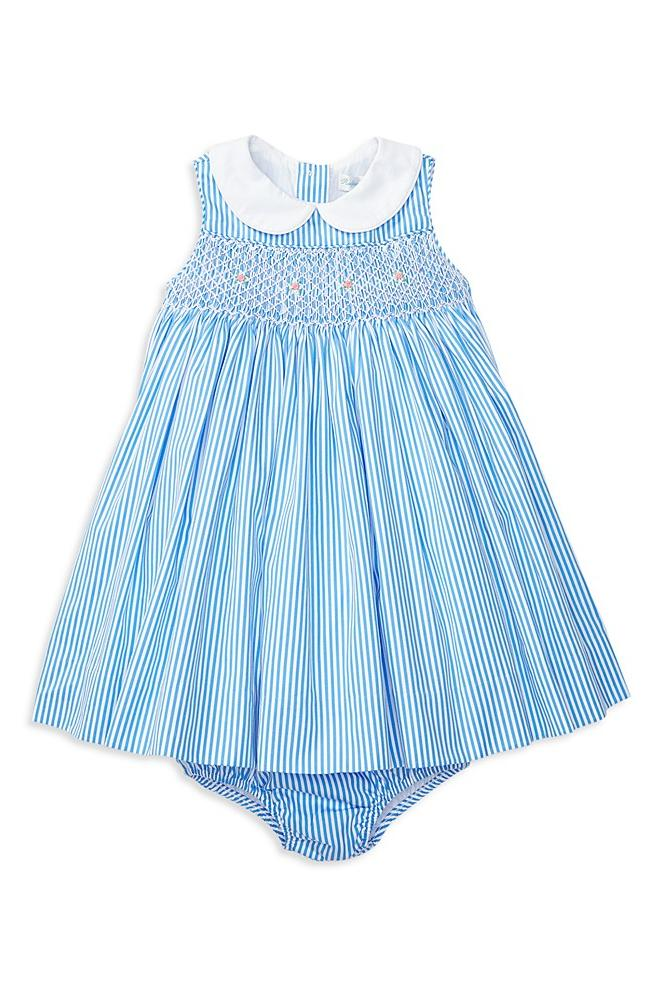 Ralph Lauren Smocked Striped Dress & Bloomer Set