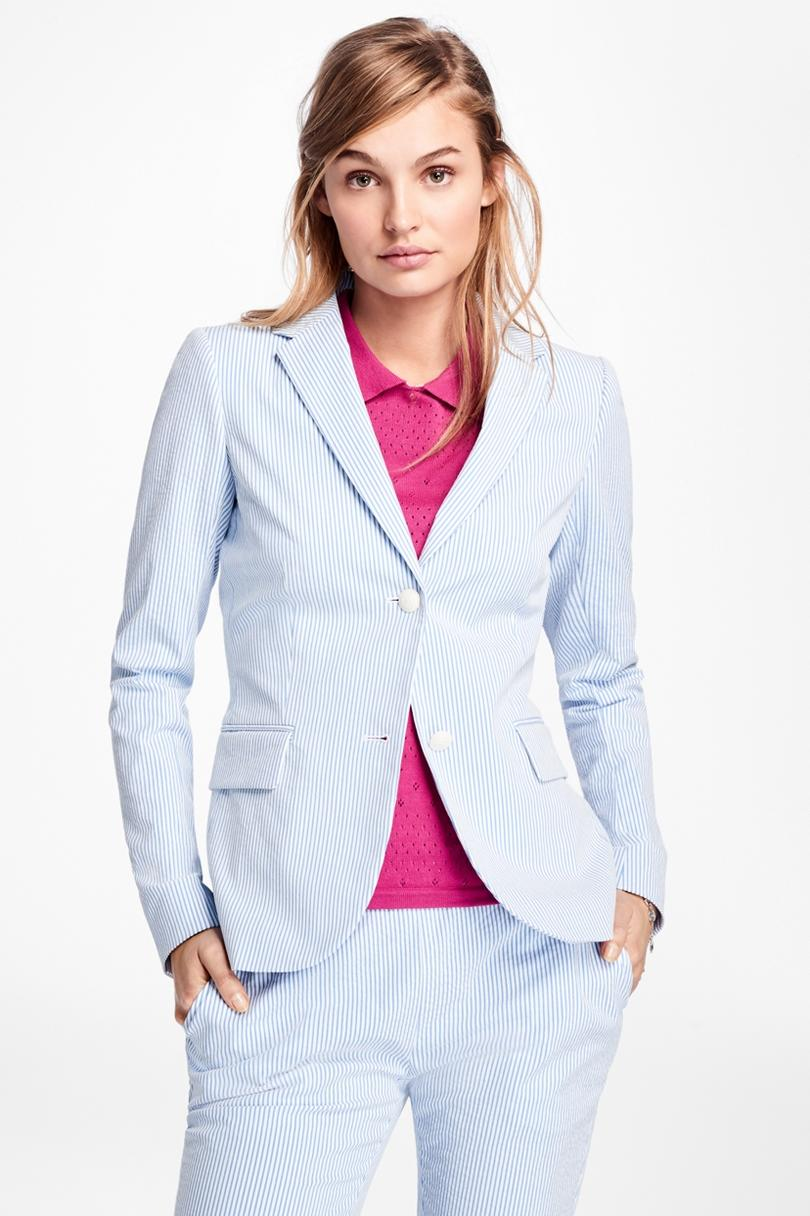 Stripe Seersucker Two Button Blazer