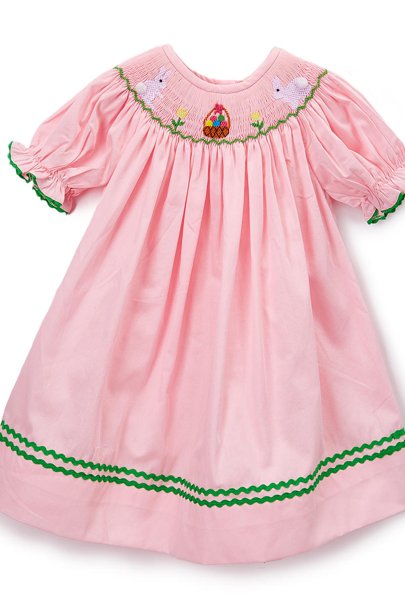 Pink Bunny Smocked Bishop Dress