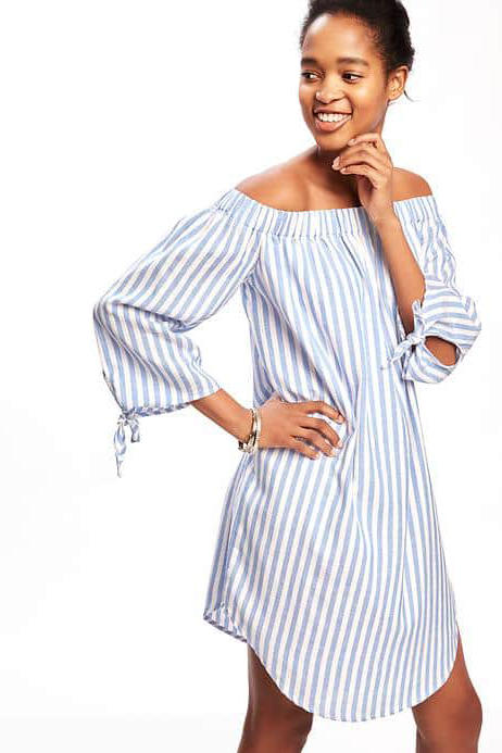 Striped Off-the-Shoulder Shift