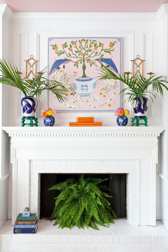 6 instant ways to give your fireplace a summertime - Non working fireplace decor ...