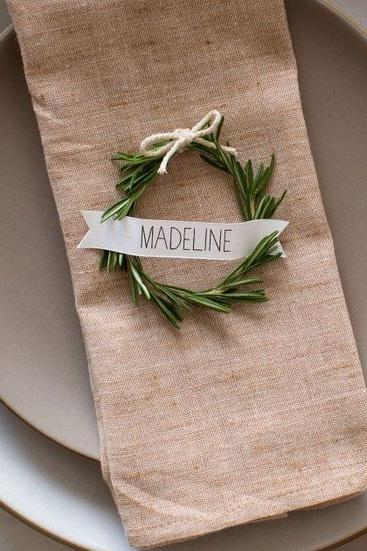 RX_1707_What's Appropriate to DIY at Your Wedding_Table Top Décor: Written in Rosemary