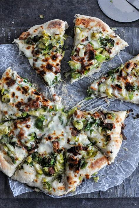 25 Skillet Pizzas Brussels Sprouts and Bacon Skillet Pizza