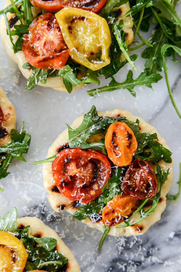 Charred Tomato and Garlic Butter Mini Skillet Pizzas