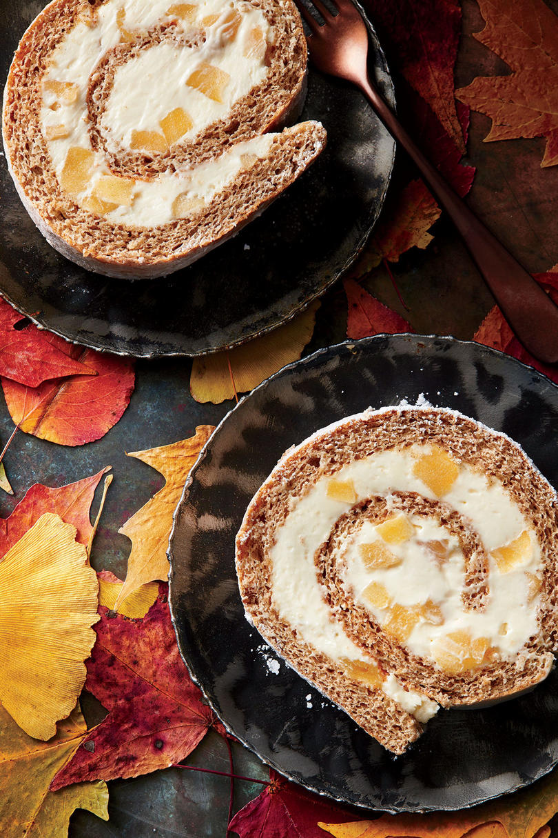 Cinnamon Roulade with Roasted Apple-Cream Cheese Filling