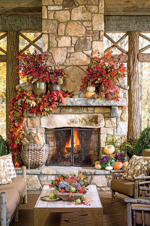Foliage-Filled Outdoor Fireplace
