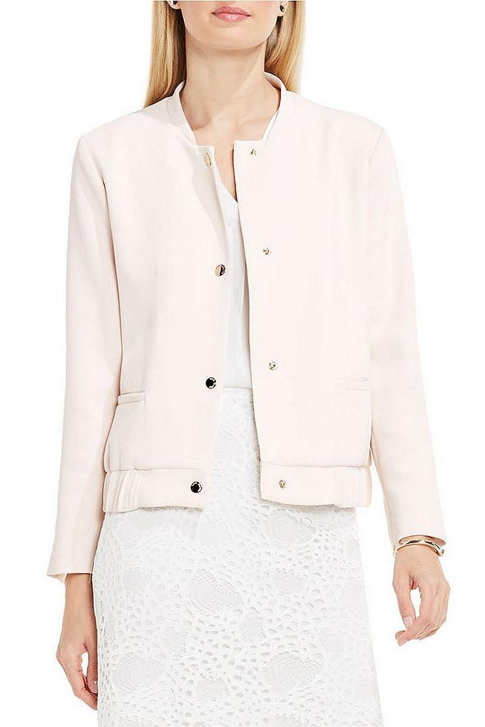 Vince Camuto Snap Front Blistered Texture Bomber Jacket