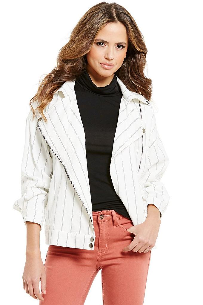 Gianni Bini Monte Oversized Stripe Moto Jacket