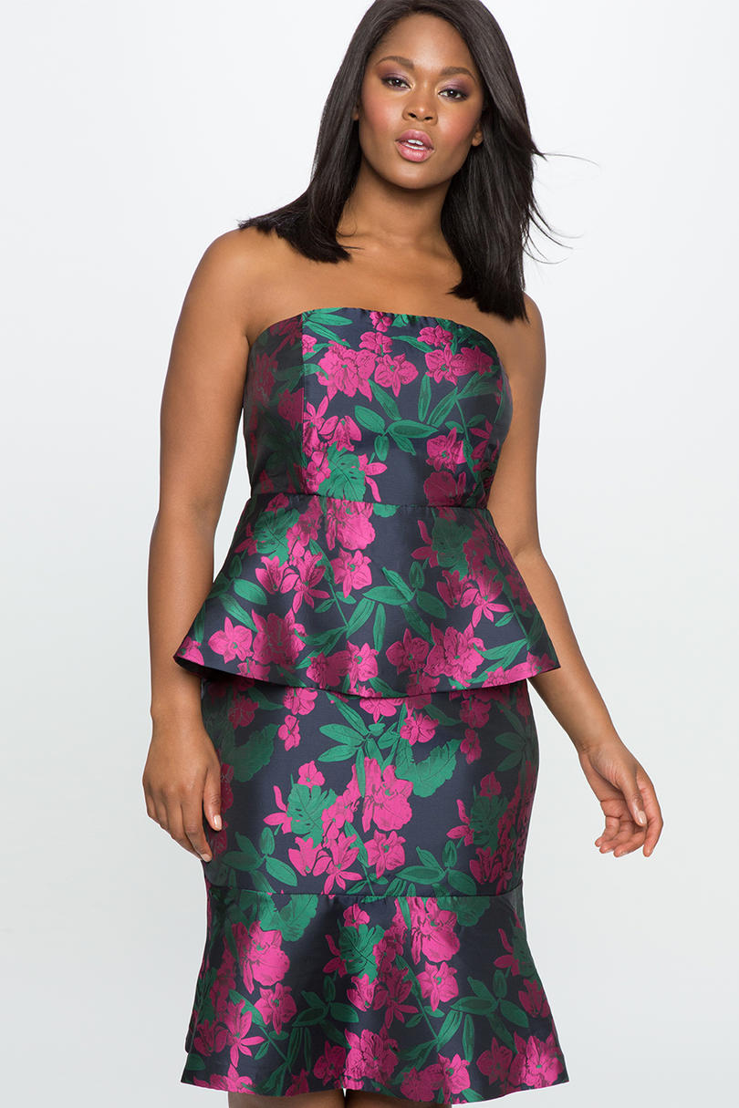 ELOQUII Strapless Double Peplum Dress