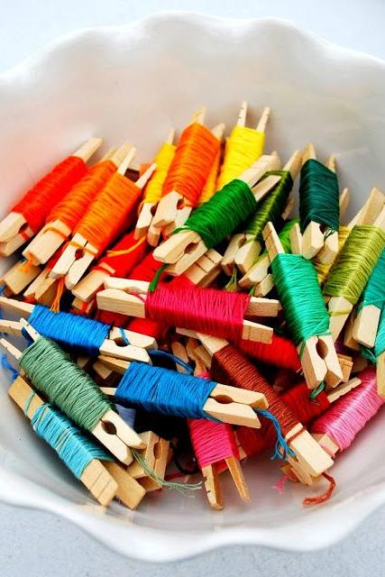 Embroidery Floss Clothespin Hack