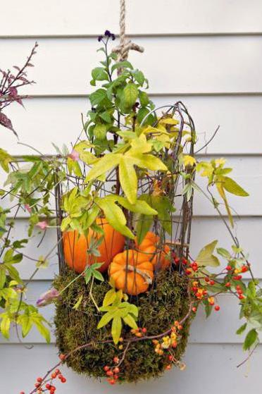 20 Incredible Ways to Decorate with Pumpkins This Fall Hanging Baskets