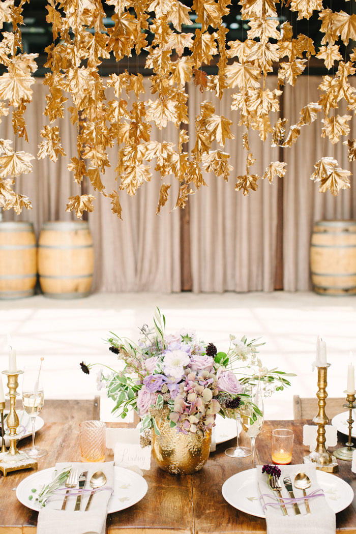 Hanging Gold Leaves Display