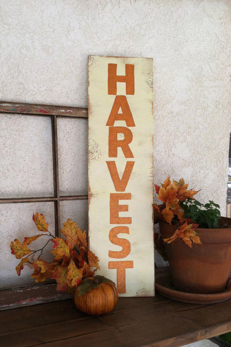 """Hand-Painted Wood """"Harvest"""" Sign"""