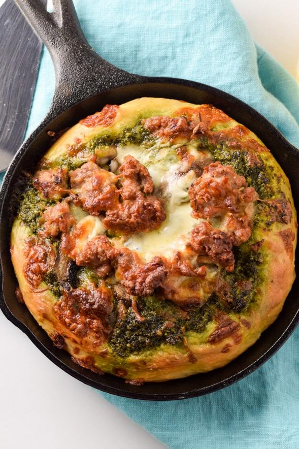 25 Skillet Pizzas Kale Pesto and Italian Sausage Mini Skillet Pizza